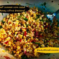 summer corn salad with honey citrus dressing