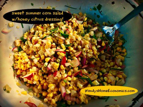 summer corn salad with honey citrus dressing