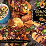Aloha Hula Hot Dogs with Mango Slawsa