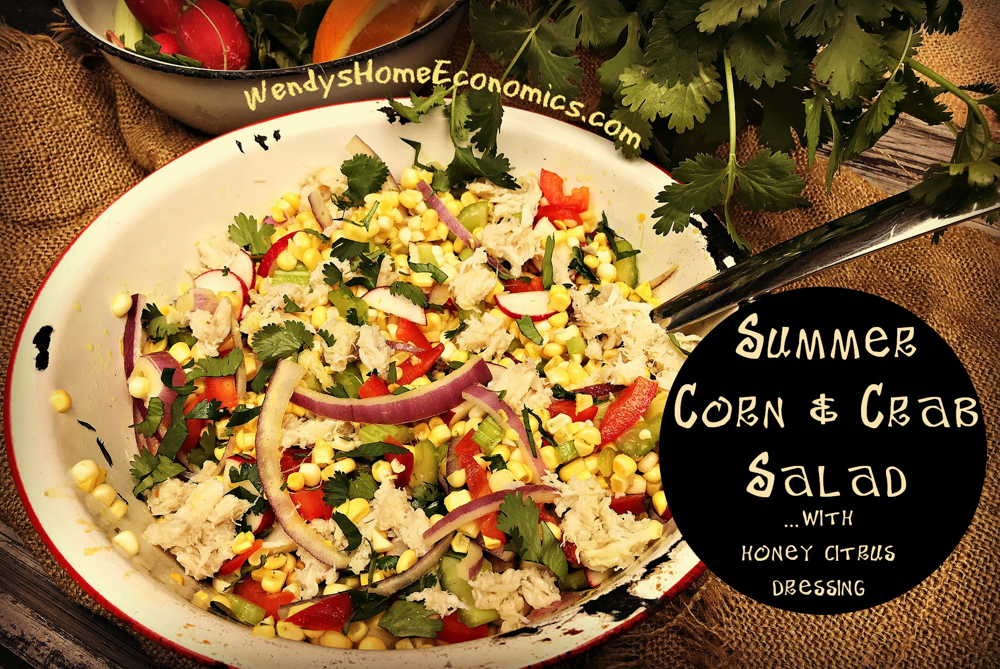 Summer Corn & Crab Salad with Honey Citrus Dressing