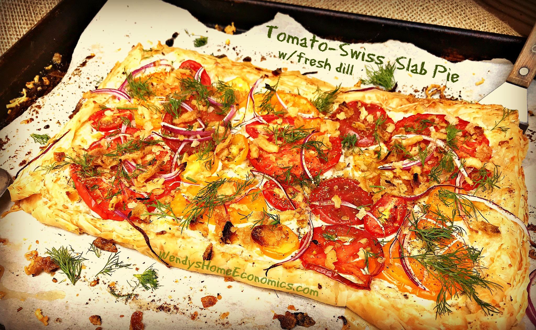 Tomato Swiss Slab Pie with fresh dill