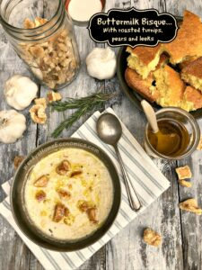 Buttermilk Bisque With roasted turnips, pears and leeks