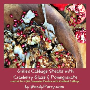 Grilled Koolheads Cabbage Steaks with Cranberry Glaze & Pomegranate