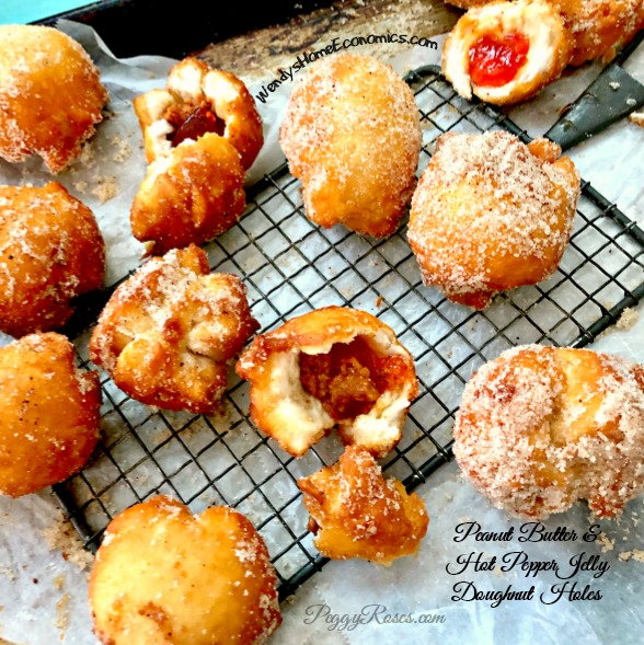 Peanut Butter & Hot Pepper Jelly Doughnut Holes… with Peggy Roses jellies and all natural peanut butter