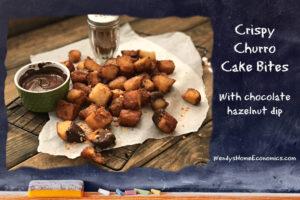 Crispy Churro Cake Bites with chocolate hazelnut dip